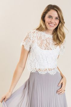 Shop the Shirley White Lace Capsleeve Top at Morning Lavender - boutique clothing featuring fresh, feminine and affordable styles. Lace Top Outfits, Lace Outfit, Ruffle Dress, Lace Skirt, Midi Flare Skirt, Alternative Wedding Dresses, Lace Crop Tops, White Lace Tops, Black White