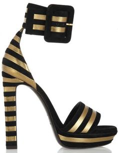 Saint Laurent Striped Gold Lame and Black Suede Ankle Cuff Sandals Spring 2013