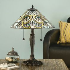 Dauphine Medium Table Lamp Elegant Art Nouveau style with shimmering translucent glass. H: 580 W: 400 D: 400 Bulbs: 2 x 60 E27 Fittings: DB6 Shade: T023SH40