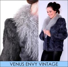 Vintage Genuine Grey Silver Fur Lambs Wool Collar Jacket Coat Satin Lined S M