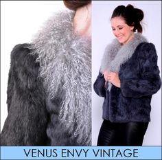 Vintage Genuine Grey Silver Fur Lambs Wool Collar Jacket Coat Satin Lined S M