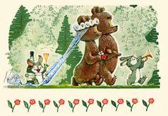 Открытка с поздравлениями, Поздравление новобрачным! Медведи-молодожены, Зарубин В., 1968 г.