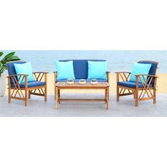 safavieh fontana teak finish beige acacia wood 4 piece outdoor rh pinterest com mx