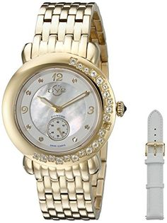 by Gevril Marsala Gemstone Womens With Gemstones and Diamonds Swiss Quartz Gold Tone Stainless Steel Bracelet Watch, (Model: Stainless Steel Bracelet, Stainless Steel Case, Luxury Watches, Rolex Watches, Semi Precious Gemstones, Michael Kors Watch, White Leather, Gold Watch, Bracelet Watch