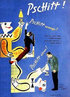 """Pschitt -Pour toi, cher ange, Pschitt orange !Pour moi, garçon, pschitt citron ! Agence Langelaan et Cerf d'après Jean Carlu.Années """"50""""...."""
