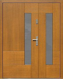 Drzwi zewnętrzne dwuskrzydłowe nowoczesne wzór 954,1 w kolorze ciemny dąb