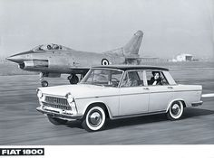 Fiat 1800 Next to not just any plane, but the Fiat which was a 1953 italian jet fighter. Fiat 1, Fiat Cars, Fiat Abarth, Turin, Europe Car, Automobile, Top Cars, Small Cars, Retro Cars