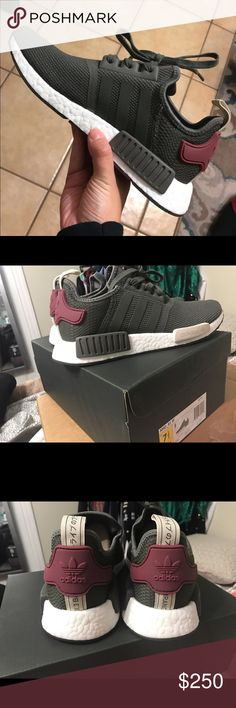 Authentic Women's NMD_R1 Utility grey/maroon (grey looks like olive green) Size 7.5 Women's-- SOLD OUT, selling because they are too big for me. And sizing for Adidas varies depending on shoe style. These NMDs could fit a 7.5 or 8 Women's. Adidas Shoes Athletic Shoes