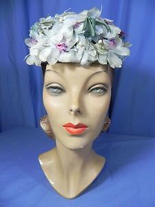 """MZ-Vintage 50's gray+lilac organdy millinery flowers topper garden hat- 19.5"""""""