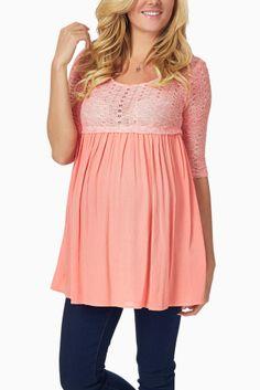 Coral-Knit-Overlay-Maternity-Tunic #maternity #fashion