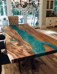 Epoxy Resin table top green feet thickness made with acacia live edge wood (Top Only)