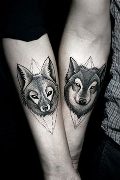 Best Couple Matching Tattoo collection of 2018 from our goose tattoo shop. couple matching tattoo designs for you. Wolf Tattoos, Animal Tattoos, Forearm Tattoos, Body Art Tattoos, New Tattoos, Tattoos For Guys, Tattoos For Women, Tattoo Ink, Fox Tattoo Men
