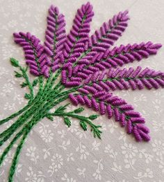 Embroidery Art, Lavender Flower.... Hand stitched using anchor threads and cotton and polyneon thread.