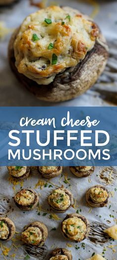 Cream Cheese Stuffed Mushrooms are tender mushroom caps stuffed with a creamy parmesan and cream cheese filling. They are little bites of heaven perfect for any occasion! Mushroom Appetizers, Yummy Appetizers, Appetizer Recipes, Keto Recipes, Vegetarian Recipes, Cooking Recipes, Healthy Recipes, Vegetarian Appetizers, Stuffed Mushrooms Cream Cheese