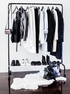 Makeshift closet ideas // Black clothing rack + white rug + wood floors - baby clothes online, online shopping for clothes, shop name brand clothes online *ad Minimalist Closet, Minimalist Interior, Minimalist Decor, Minimalist Living, Minimalist Bedroom, Bedroom Modern, Minimalist Lifestyle, Modern Minimalist, Minimalist Quotes