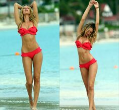 Red Hot Ruffled Swimsuit- I want one! VS swimsuit??? I need to find this