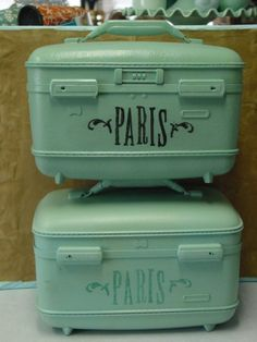Paris ~ painted old suitcases
