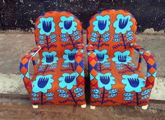 Yoruba African Beaded Chairs - Orange & Blue African Home Decor, African Beads, Unique Lighting, Furniture Decor, Art Decor, Safari, Armchair, Area Rugs, Chairs