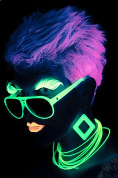 Neon. This reminds me, I would really like to have/attended a blacklight type party so I can dress like this.