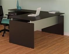 This Medina series executive office desk features a straight front design with front workstation, universal bridge, and box box file pedestal. The mocha finish offers high end appeal that works well in both home and business environments. Executive Office Furniture, Office Desks, L Shaped Executive Desk, Desk Riser, Office Furniture Manufacturers, Frosted Glass Door, Hanging File Folders, Hanging Files, L Shaped Desk