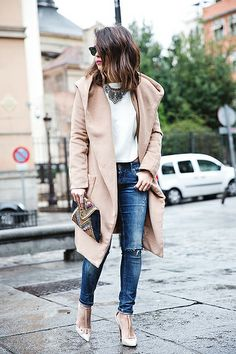 Nude coat + ripped jeans