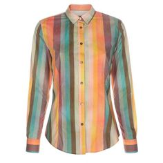 Paul Smith Women's 'Multi-Colour Stripe' Print Cotton Shirt (£190) ❤ liked on Polyvore featuring tops, shirts, striped collared shirt, multi color striped shirt, double cuff shirt, cotton shirts and collared shirt