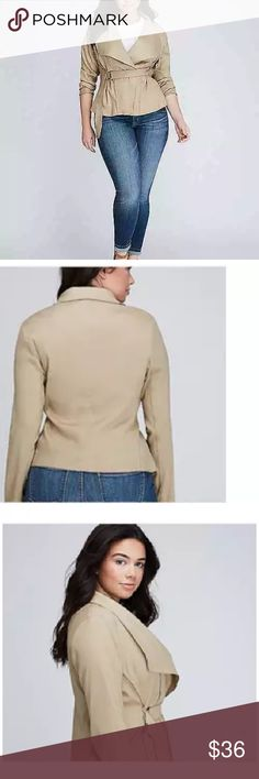 Lane Bryant Linen Jacket Size 20 Tan D Ring Belt Lane Bryant Plus Size Tan Linen Jacket Drape Front D Ring Belt Closure Size 20 •Item: Women's Linen Blend Jacket Casual Front Side Tie D Ring •Fabric: 56% Ramie, 41% Viscose, 3% Spandex •Style Name: Linen Jacket •Brand: Lane Bryant •Condition: New With Tags •Size: 20 •Approximate Measurements:  ◦Armpit to armpit laying flat 23 inches ◦Waist laying flat 22 inches ◦Length: 23 inches •Color: Tan Lane Bryant Jackets & Coats…
