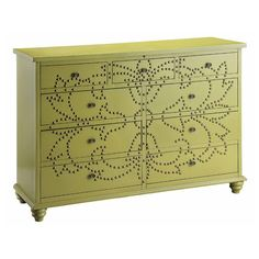The Ian accent cheat gives your home the style and functionality you have been searching for. This chest has a hand-painted green finish with an antique brass nail head design. Nine drawers create gen
