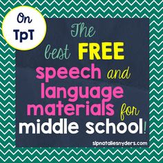 Natalie Snyders SLP: Speech-Language Therapy-Free Materials for Middle School! Pinned by SOS Inc. Resources. Follow all our boards at pinterest.com/sostherapy/ for therapy resources.