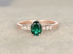 6x8mm Oval Emerald Engagement Ring Diamond Wedding Ring 14k Rose Gold Anitique Prong Set