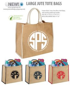 Large Jute Tote Bags. Features Black, Cream, Navy Blue or Red Piping with sturdy matching padded rope handles. Velcro closure. Large imprint area to customize with your brand, logo, message or art. Eco-branding. Biodegradable, Reusable and Recyclable. Great for branding, marketing, advertising, gifts and more.