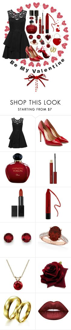 """""""❤ Be My Valentine ❤"""" by wearall ❤ liked on Polyvore featuring WearAll, Salvatore Ferragamo, Christian Dior, Kevyn Aucoin, NARS Cosmetics, Forever 21, Kevin Jewelers, Allurez, Everlasting Gold and Lime Crime"""