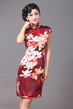 Resplendent Lily Flowers Silk Cheongsam - Qipao - Cheongsam - Women
