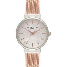 Olivia Burton OB15TH18 Hackney silver and rose gold-plated watch ($95) ❤ liked on Polyvore featuring jewelry, watches, white watches, polka dot jewelry, white jewelry, dot jewelry and polka dot watches