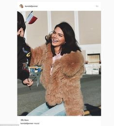 All smiles: After landing in the French capital Kendall shared this snap...