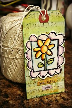 Step by step instructions using Tim Holtz Distress Markers to paint this super cute tag! ~ Stephanie Ackerman, Homegrown Hospitality