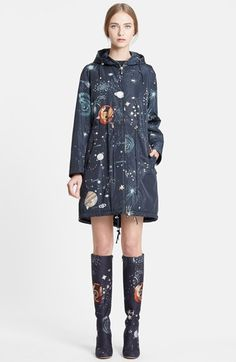 Valentino Cosmos Print Hooded Coat available at Style Casual, My Style, Estilo Indie, Raincoat Outfit, My Sun And Stars, Raincoats For Women, Pinterest Fashion, Street Style, Look Cool