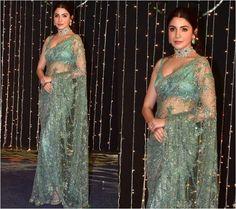 Saree Designs Party Wear, Party Wear Sarees, Saree Blouse Designs, Anushka Sharma Saree, Priyanka Chopra, Neha Sharma, Lace Saree, Net Saree, Sabyasachi Sarees