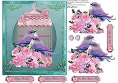 Twilight Love Birds with Pink Rose Decoupage Topper on Craftsuprint - Add To Basket!