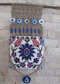 TRADITIONAL IZNIK TURKISH CERAMIC TILE evil eye hanging,macrame -d