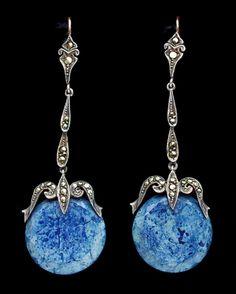 ART DECO  Earrings   Silver Gold Lapis Marcasite  H: 6 cm (2.36 in) W: 1.8 cm (0.71 in)  Marks: '935'  European, c.1930