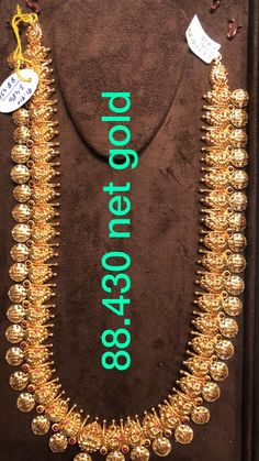 Stunning gold long haaram with Ram parivar kasu hangings. Long haaram with around 88 grams weight. Jewelry Design Earrings, Beaded Jewelry Designs, Coin Jewelry, Gold Jewellery Design, Gold Earrings, Gold Necklace, Gold Temple Jewellery, Indian Wedding Jewelry, Bridal Jewelry