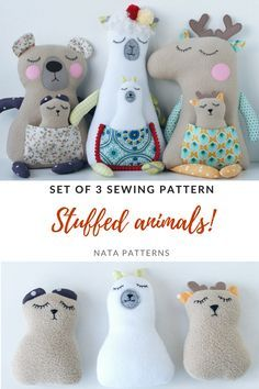 Plush animal toy sewing pattern PDF Stuffed animal tutorial Doll sewing Deer LLama Bear toy Easi pattern for beginners Soft toys sewing PDF - Stofftiere Sewing Stuffed Animals, Stuffed Toys Patterns, Fabric Toys, Sewing Dolls, Bear Toy, Toy Craft, Sewing Projects For Beginners, Plush Animals, Sewing For Kids