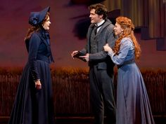 Candy Buckley as Minnie Kennedy, Edward Watts as Robert Semple and Carolee Carmello as Aimee Semple McPherson in Scandalous
