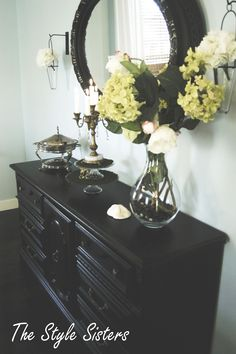 Old dresser turned into a buffet! i have one very similar to this! yay! Thinking of painting it turquoise!