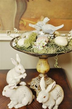 Easter Decor Side note : get dollar store rabbits and birds and spray paint them all vintage white or pastel colors