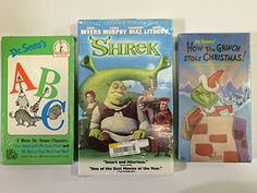 Kids and Children 3 Pack VHS Movies: Dr. Seuss How the Grinch Stole Christmas Boris Dr. Seusss ABC  @ niftywarehouse.com #NiftyWarehouse #Shrek #Movies #Movie