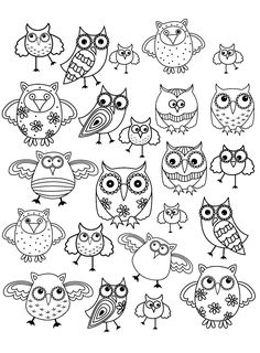 Doodle owl - Doodle Art / Doodling Coloring Pages for Adults - Just Color Easy Doodles Drawings, Easy Doodle Art, Simple Doodles, Bird Drawings, Insect Coloring Pages, Animal Coloring Pages, Adult Coloring Pages, Tier Doodles, Owls