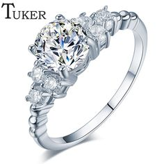TUKER 패션 지르코니아 웨딩 약혼 반지 화이트 골드 도금 패션 보석 여성 반지 보석 도매