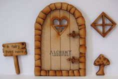 Pebble Heart 3D Fairy Door Wooden Craft Kit with Fairy Window, Mushroom & Sign | Crafts, Woodworking, Other Woodworking Supplies | eBay!